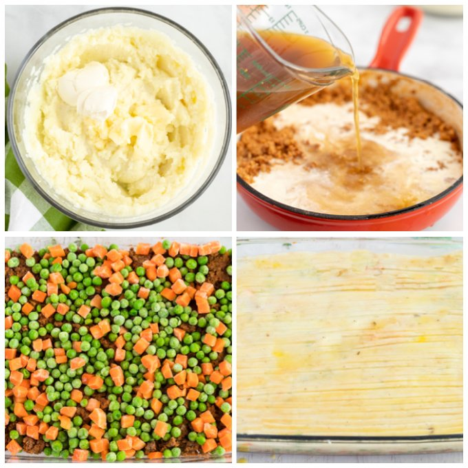 Picture collage of how to make a classic shepherd's pie recipe.