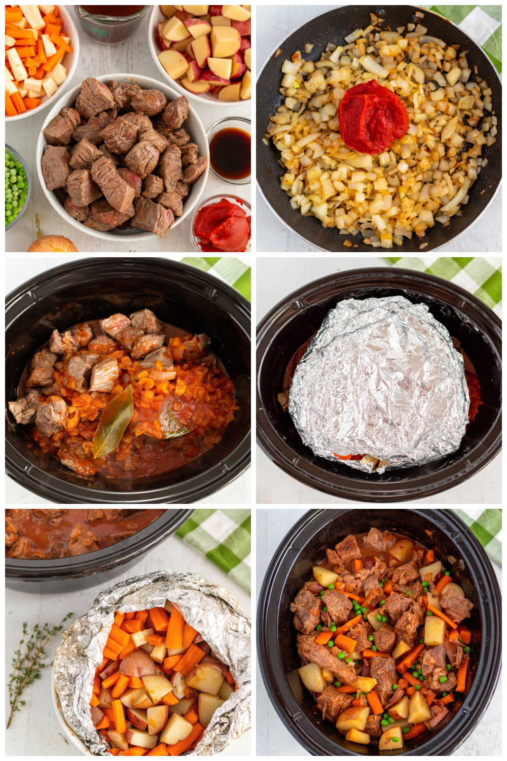 A picture collage of how to make slow cooker beef stew