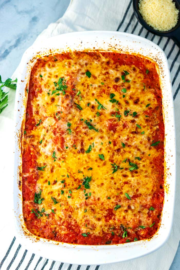 Baked Three Cheese Manicotti in a baking dish