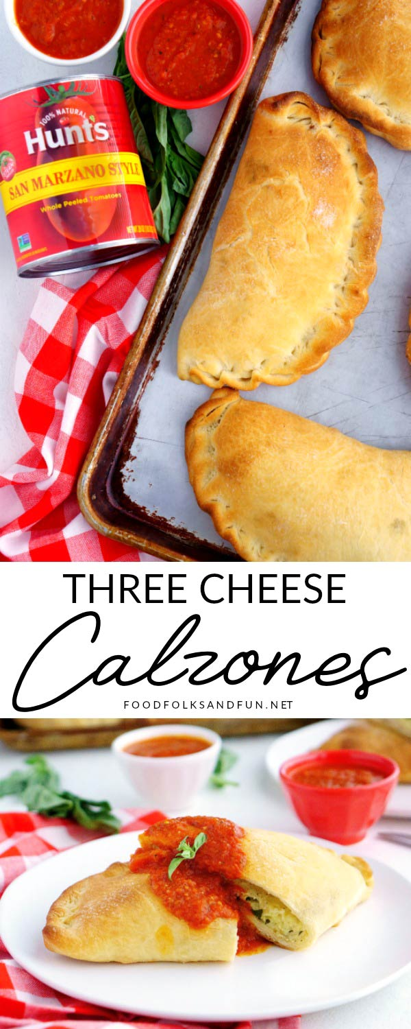 This Homemade Three Cheese Calzones Recipe makes 6 large calzones. They're filled with ricotta, mozzarella, Parmesan and fresh herbs. They have the most delicious dipping sauce, too!  via @foodfolksandfun