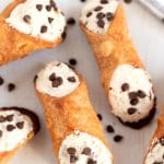 Overhead picture of finished cannolis.