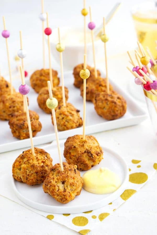 The sausage and cream cheese balls served an an appetizer with mustard dipping sauce.