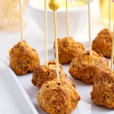 Close up picture of sausage cream cheese balls.