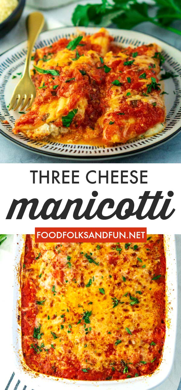 Three Cheese Baked Manicotti is a classic Italian recipe for a reason! It's creamy, cheesy, and covered with a vibrant homemade sauce. via @foodfolksandfun