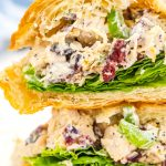 Two cranberry chicken salad sandwiches stacked on top of each other.