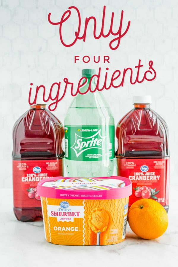 A picture of the 4 ingredients needed to make this non-alcoholic Christmas Punch.