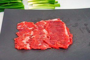 Arrange 3 pieces of meat into a square.