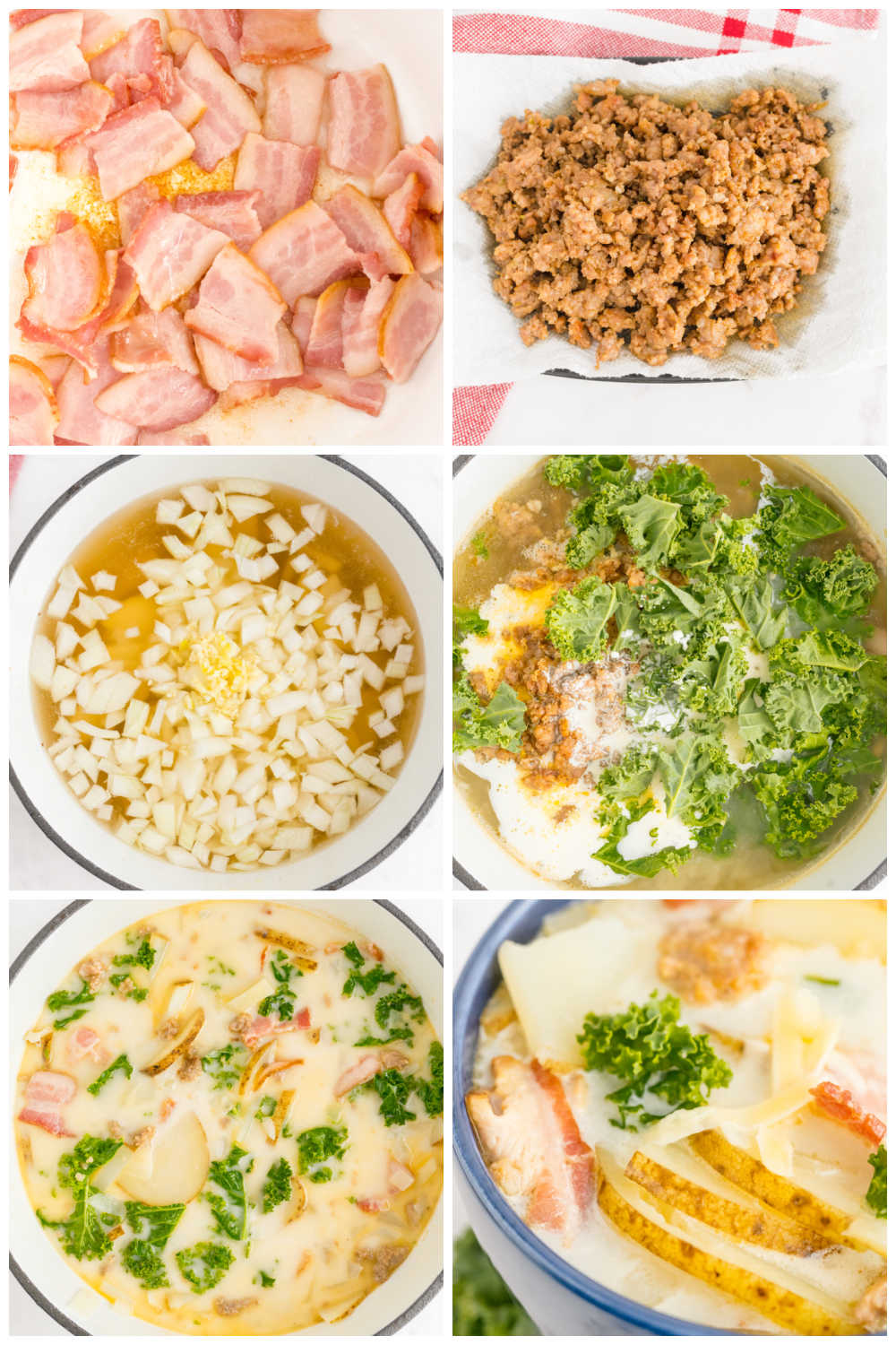 A picture collage of the steps needed to make this copycat olive garden zuppa toscana recipe with text overlay for Pinterest.