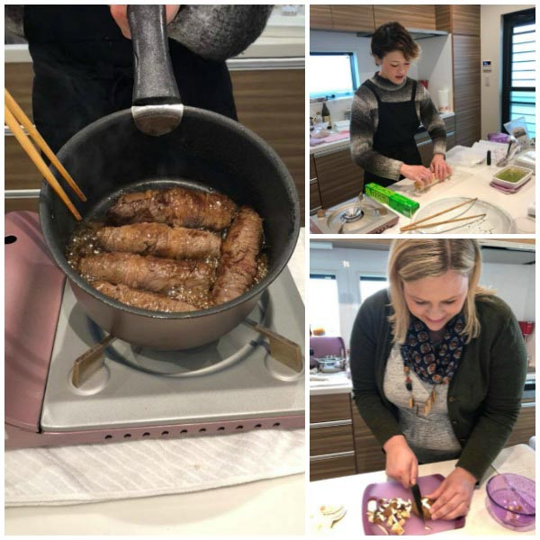 Cooking class in Japan where I'm making beef maki rolls.