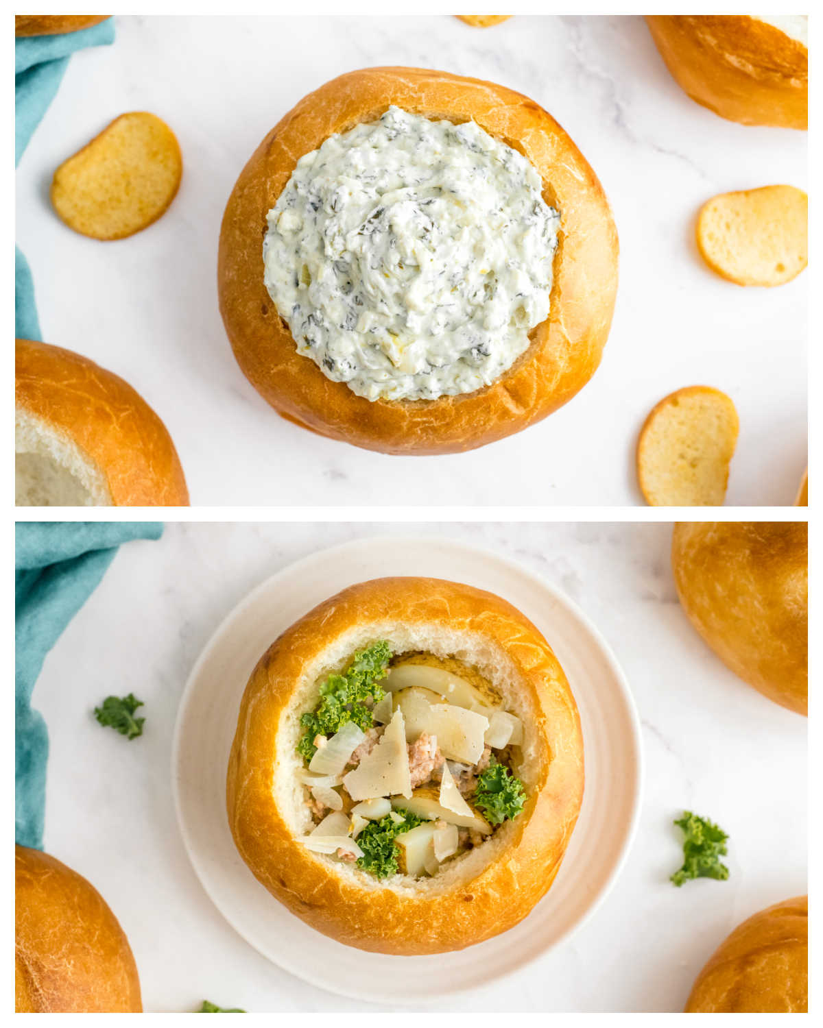Two bread bowls filled with a spinach dip and soup.
