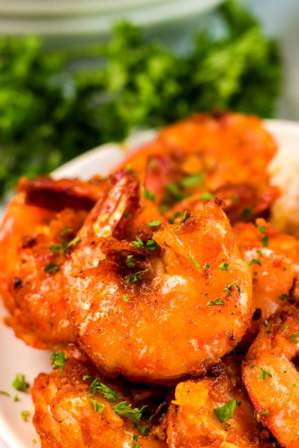 Close up of garlic butter shrimp, YUM!