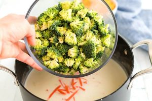 Stir in the broccoli and carrots.