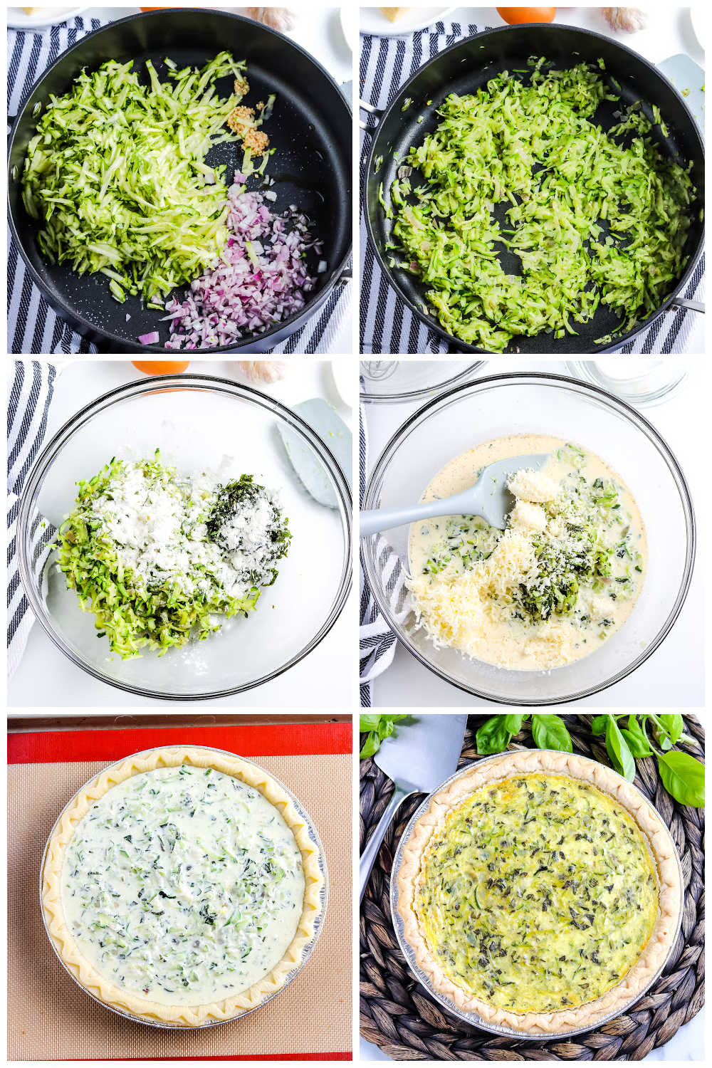 A picture collage of how to make this zucchini quiche recipe.