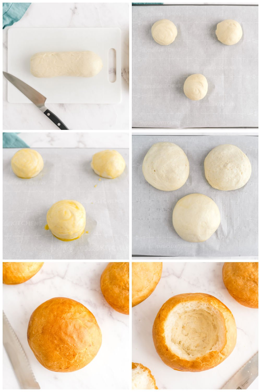 A picture collage of all the steps it takes to make a bread bowl.