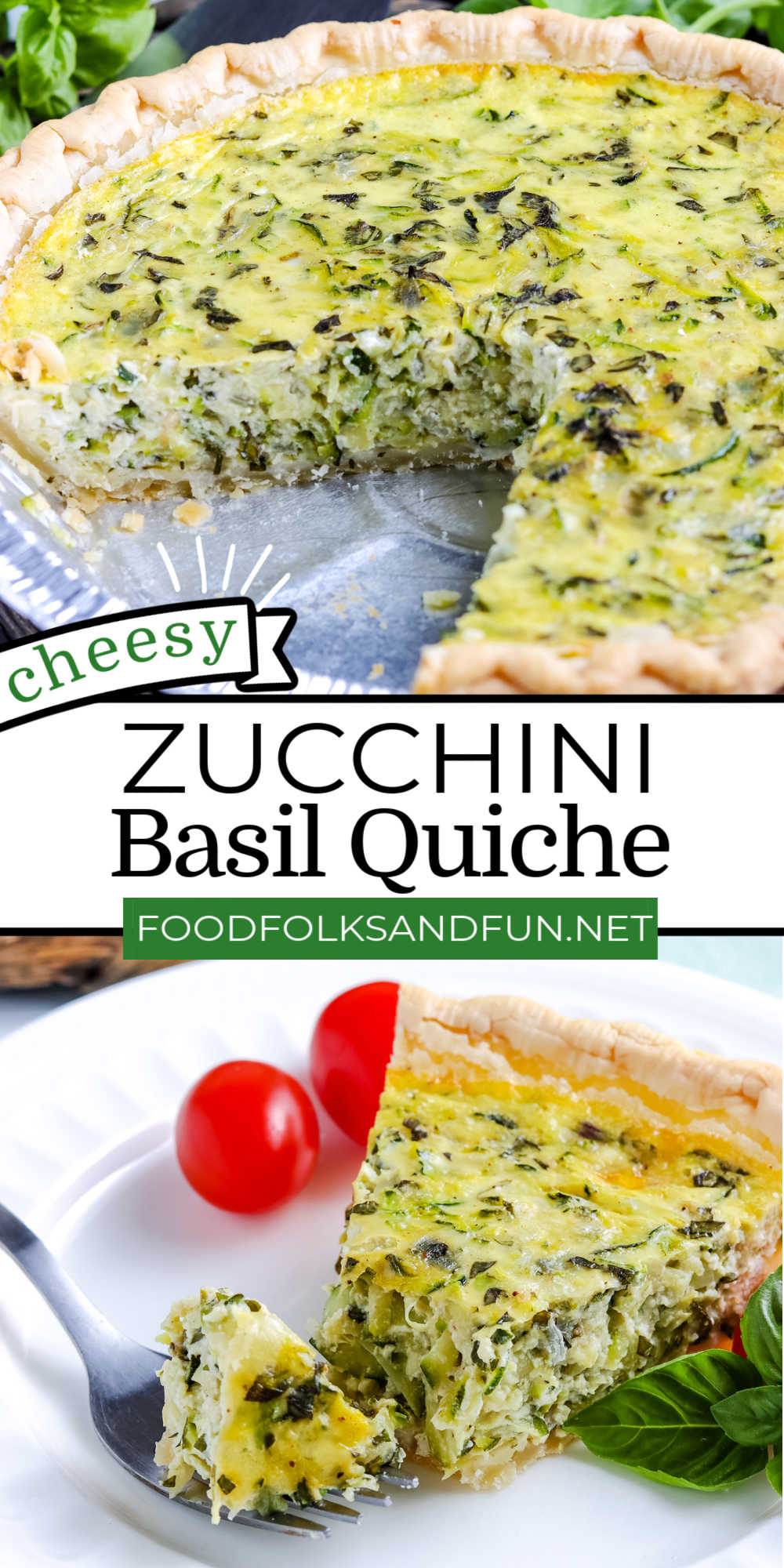 This Cheesy Zucchini Quiche is just the summer dinner recipe to make with fresh, in-season zucchini! This recipe serves eight and costs $5.89. That's just 74¢ per serving! via @foodfolksandfun