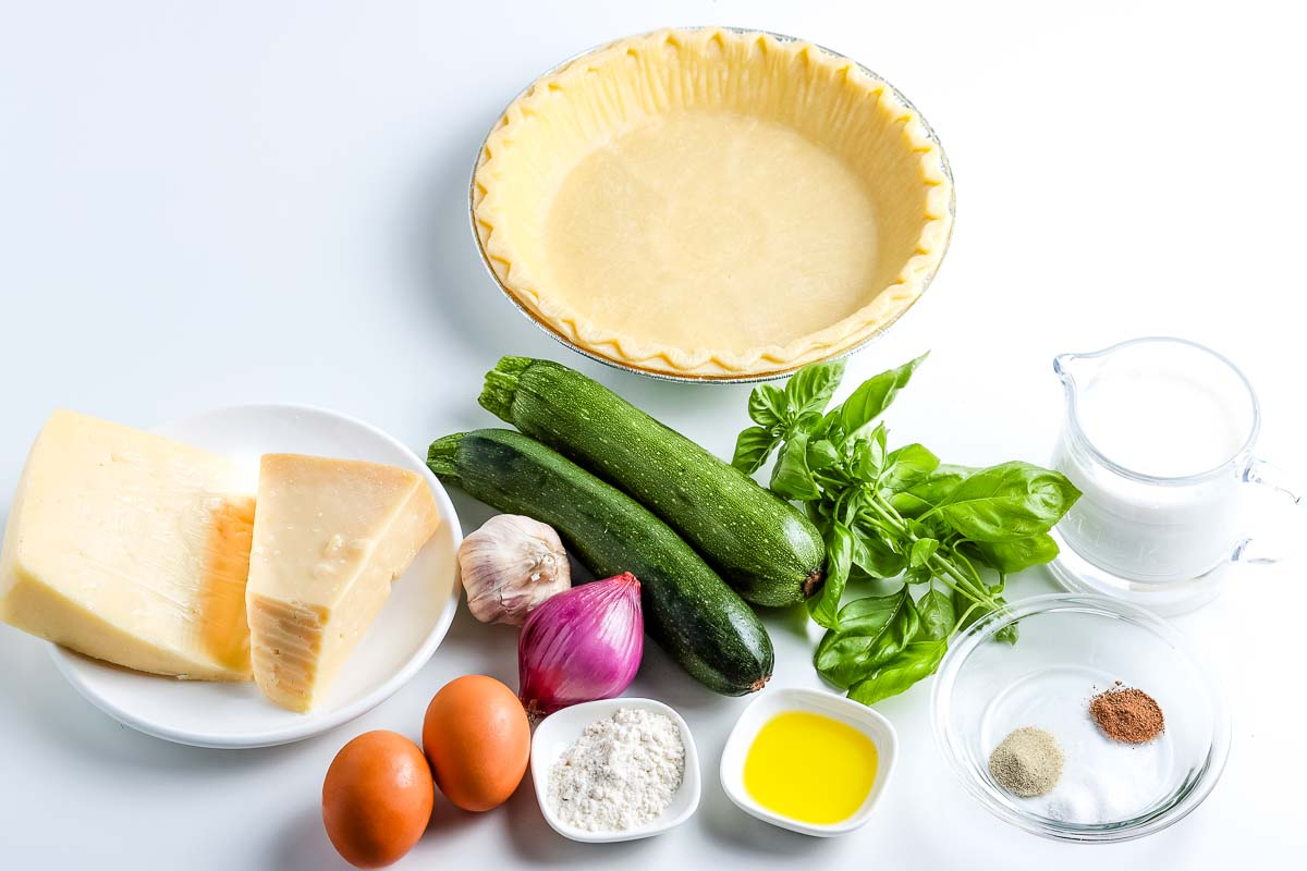 All of the ingredients needed to make this Zucchini Quiche recipe.