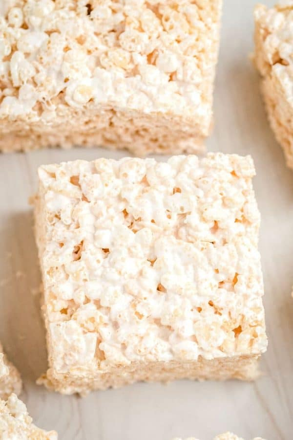Overhead picture of a homemade Rice Krispies Treat.