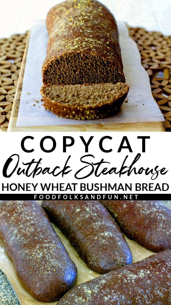 Now you can skip the steakhouse and make this Copycat Outback Bread at home with pantry ingredients! This Honey Wheat Bushman Bread recipe makes 4 loaves, serves 24, and costs just $3.18 to make.  via @foodfolksandfun