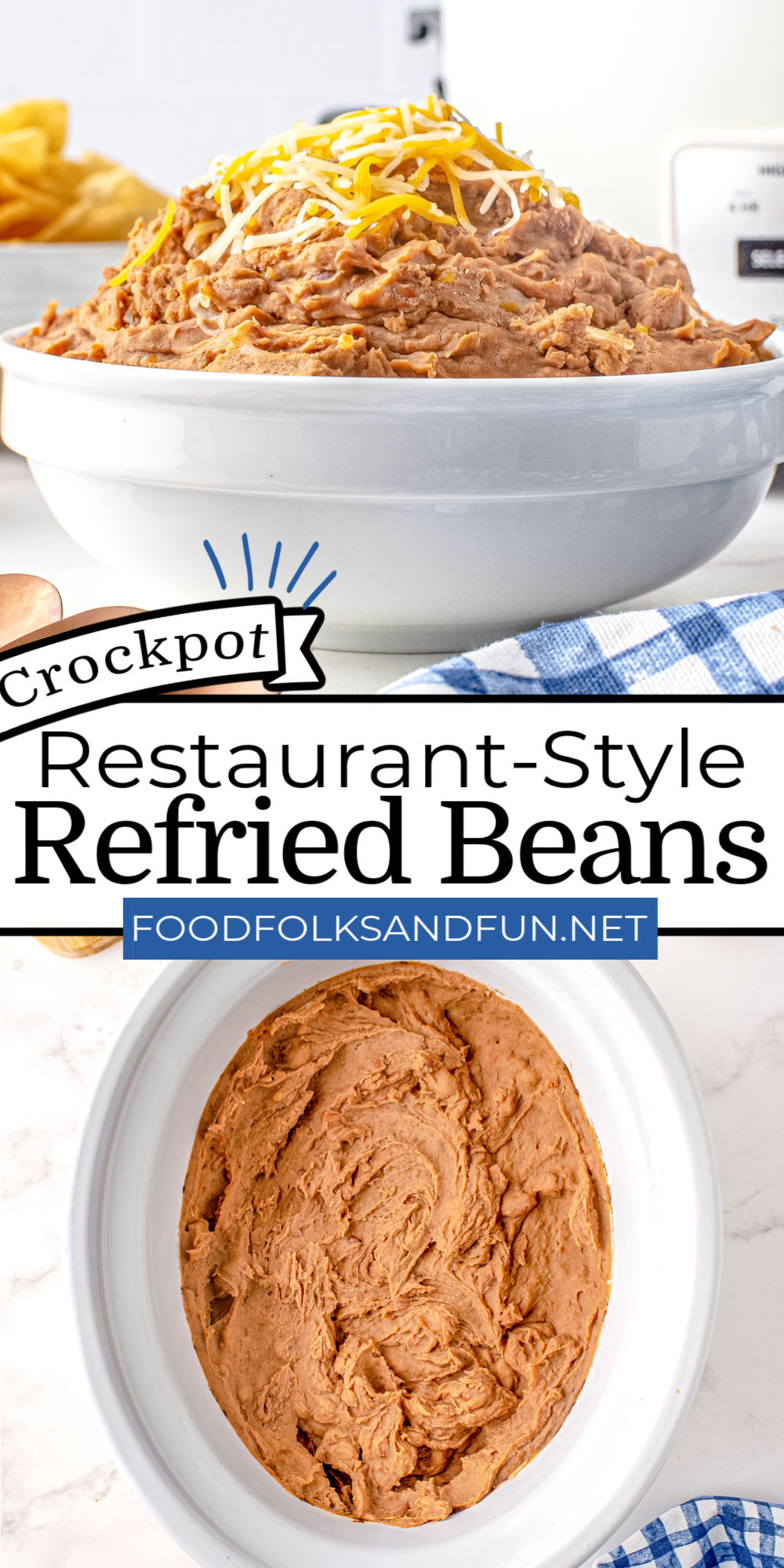 This Restaurant Style Refried Beans recipe is made in a crockpot, and you don't need to soak the beans! As a result, the recipe is so easy, and the beans come out creamy. via @foodfolksandfun
