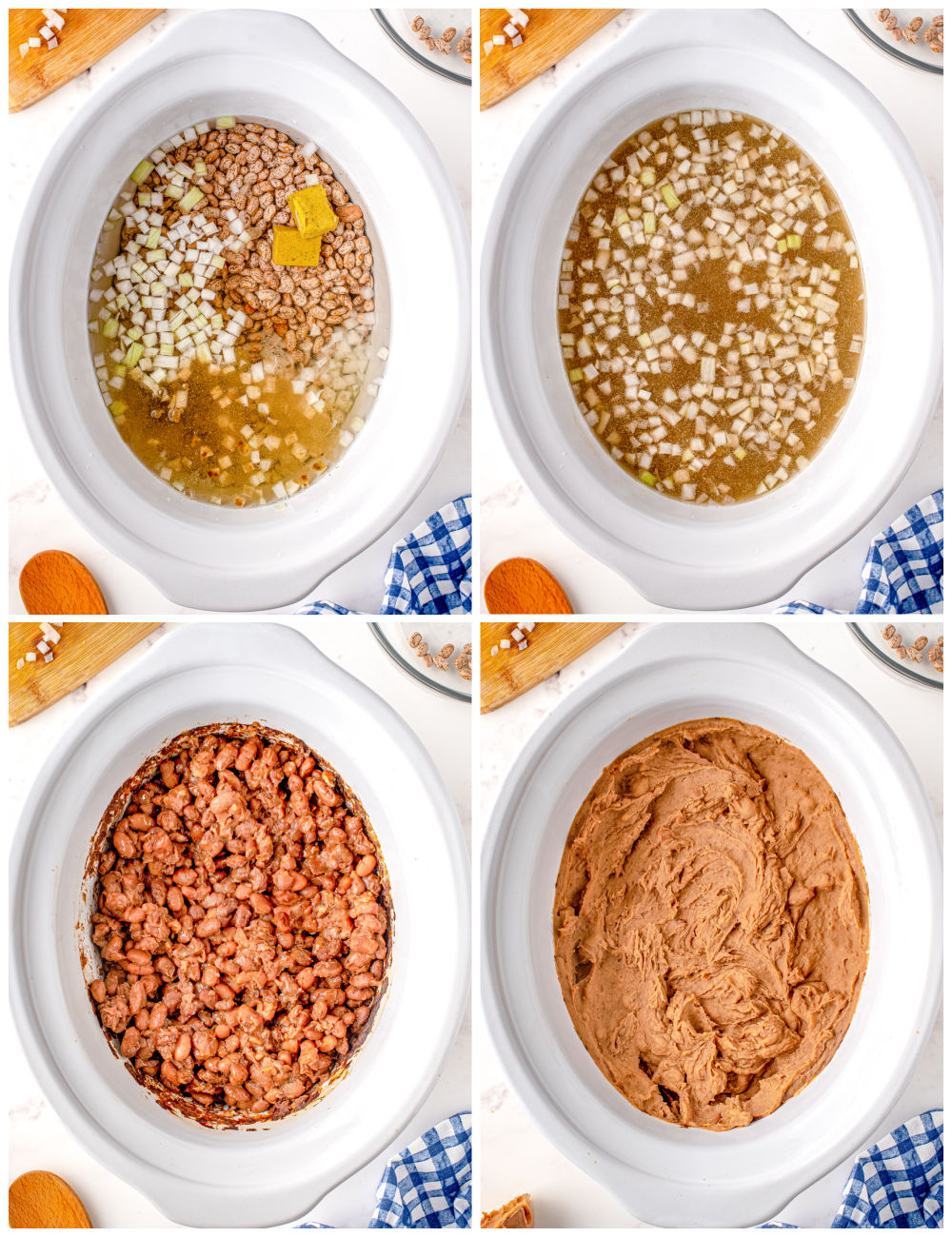 A picture collage showing how to make this Refried Beans recipe.