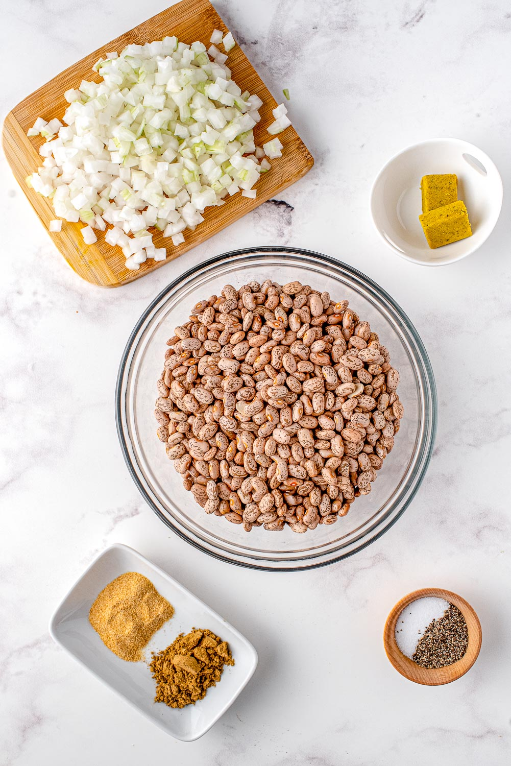 All of the ingredients needed to make this Refried Beans recipe.