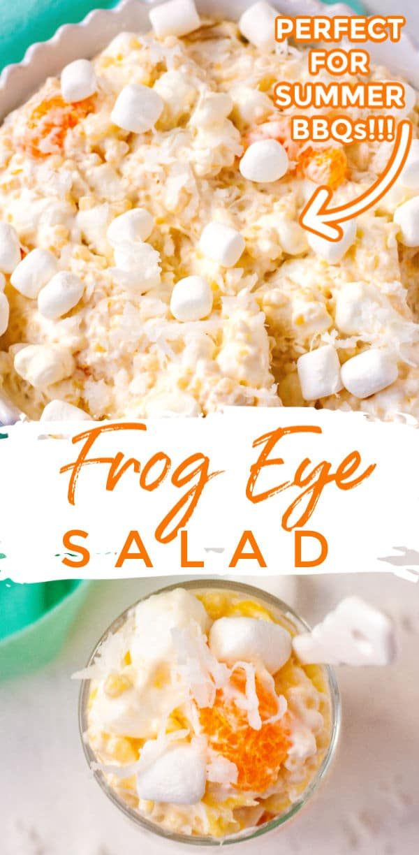 Frog Eye Salad is a creamy and fluffy pineapple, orange, and coconut pasta salad that can be served as a side dish or dessert! This recipe serves a crowd so it's great for BBQs and potlucks! via @foodfolksandfun