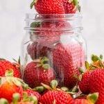 Strawberries in a Mason jar.