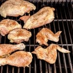 Rub the chicken with salt and pepper and place the chicken on the part of the grill with the burners that are off.