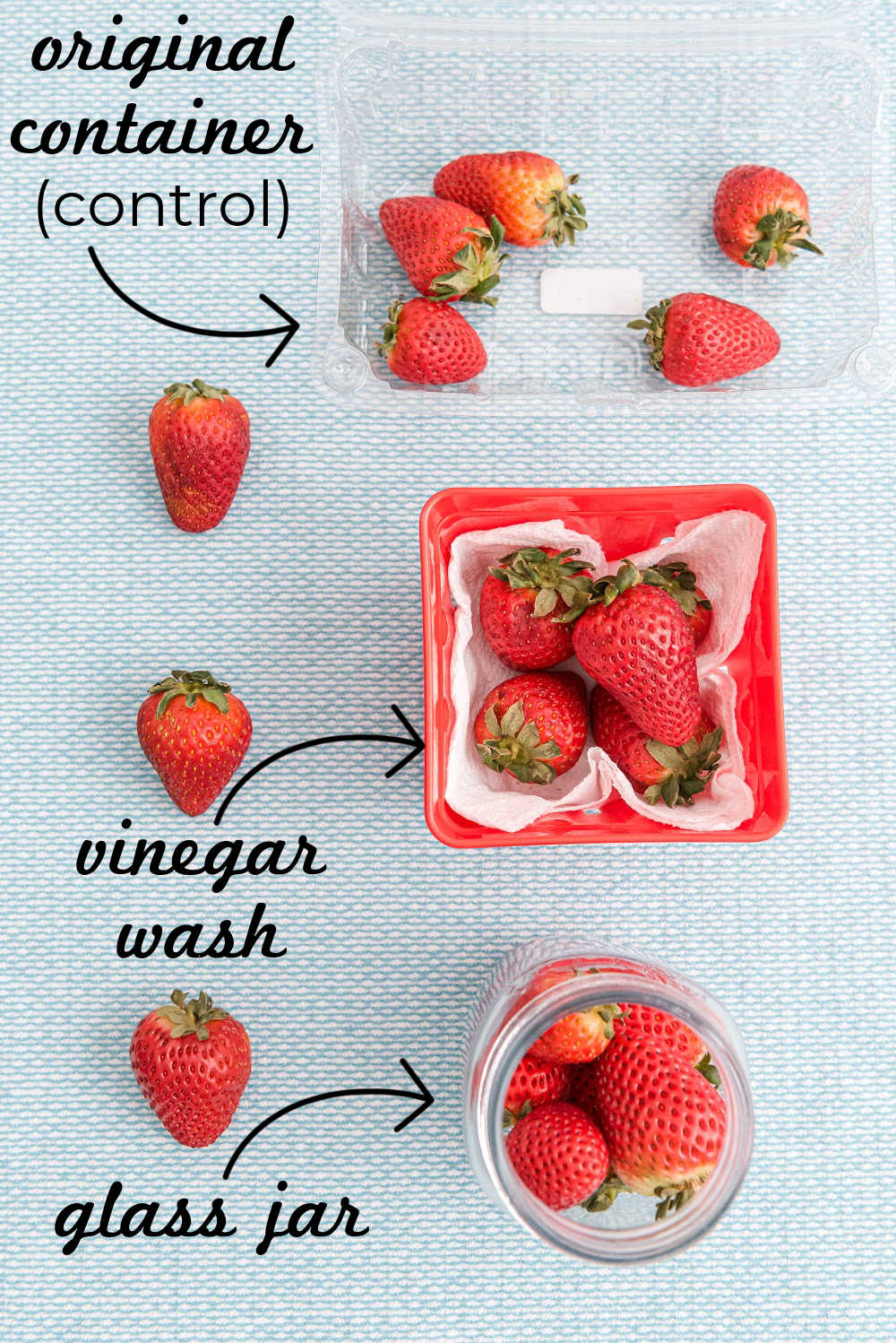 An overhead picture of strawberries with text overlay for Pinterest.
