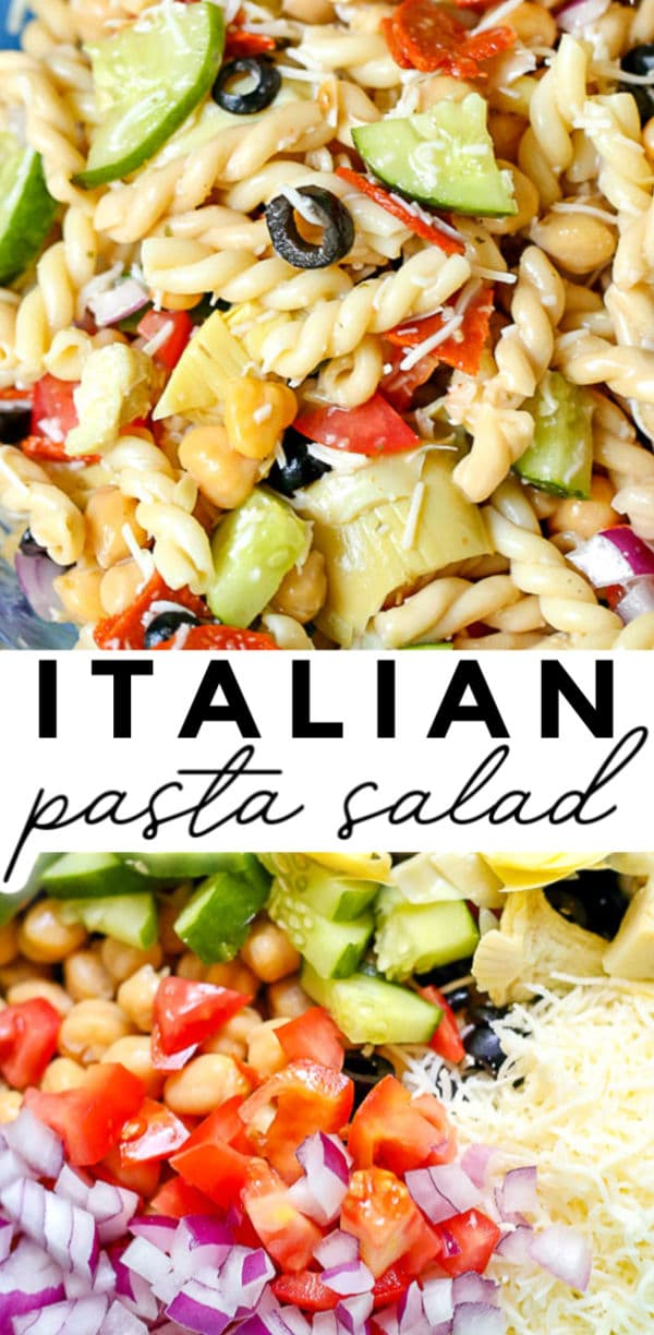 This Italian Pasta Salad recipe has all of the elements of a Chopped Italian Salad but in pasta salad form: abundant veggies, fresh cheeses, and a sweet and zesty Italian dressing. via @foodfolksandfun