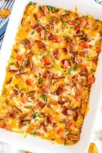 Overhead picture of the the finished Tater Tot Breakfast Casserole.