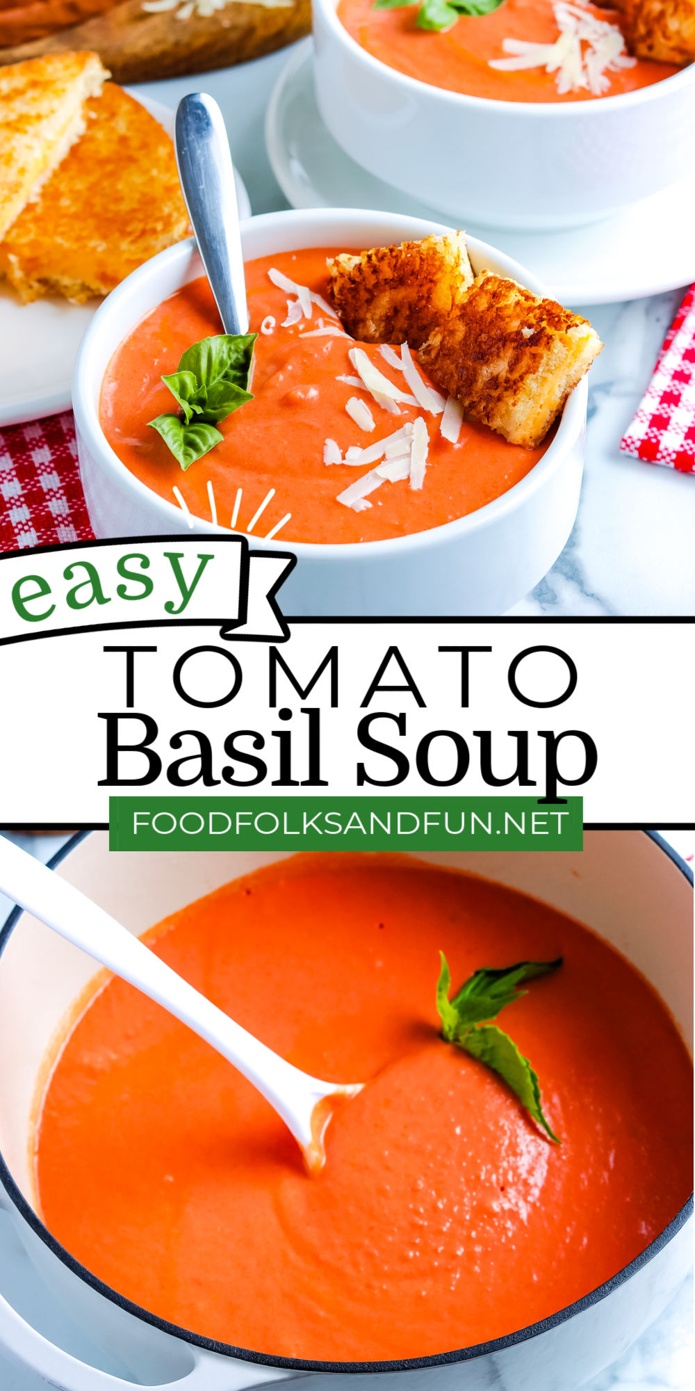 My Easy Tomato Soup recipe is easy to make and my all-time favorite recipe. It's the perfect soup recipe at any time of the year. via @foodfolksandfun