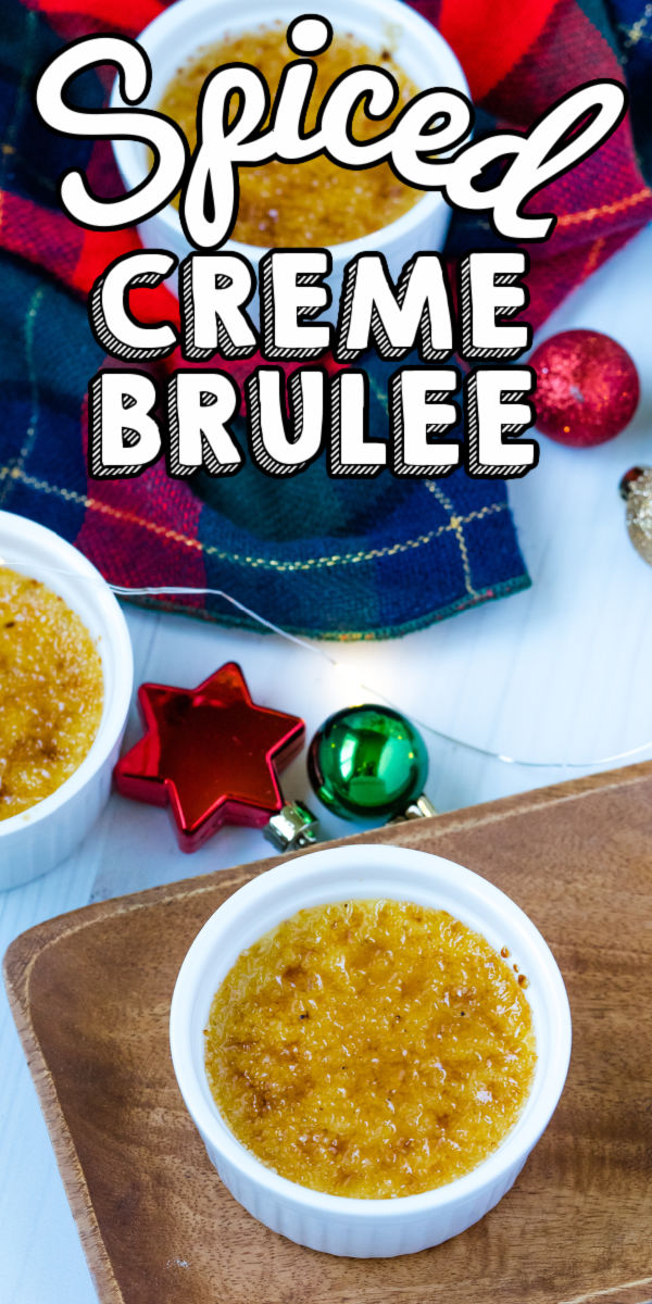 This Christmas Creme Brulee is perfectly spiced with cinnamon, nutmeg, and cloves. It's reminiscent of the Creme Brulee you'll find in the Alsace region of France. via @foodfolksandfun