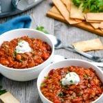 Two bowls of Crockpot Chili