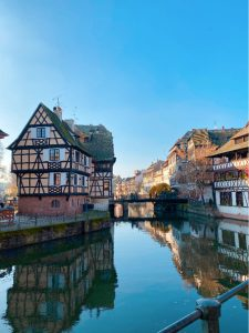 Buildings in Petite France along the river.
