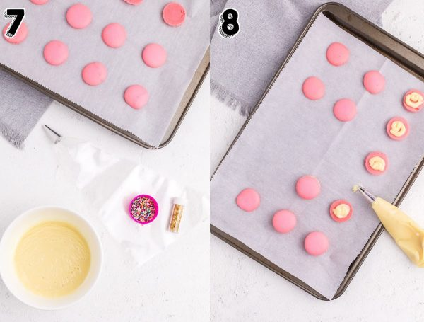 The white chocolate ganache being pipped onto the pink macarons.