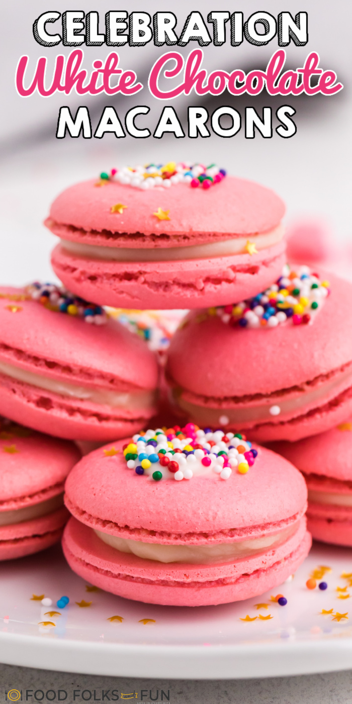 These Pink Macarons are filled with white chocolate ganache. They're perfect for any party, celebration, or holiday because you can color them any way you please.  via @foodfolksandfun