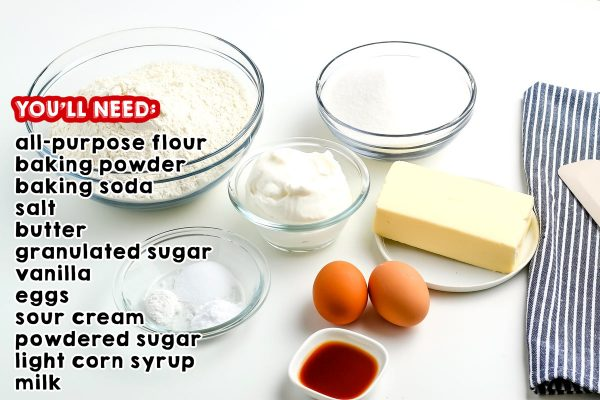 All of the ingredients needed to make this cut out sugar cookie recipe.