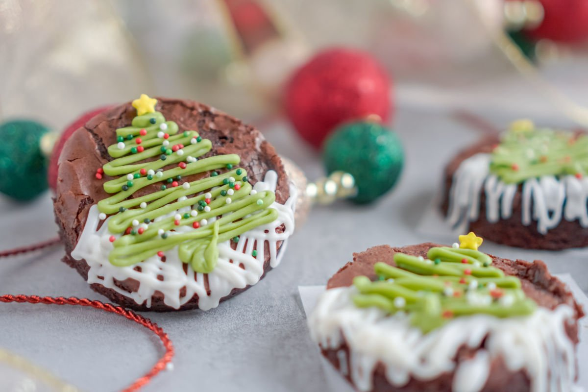 Three Christmas Tree Brownies on a serving platter.