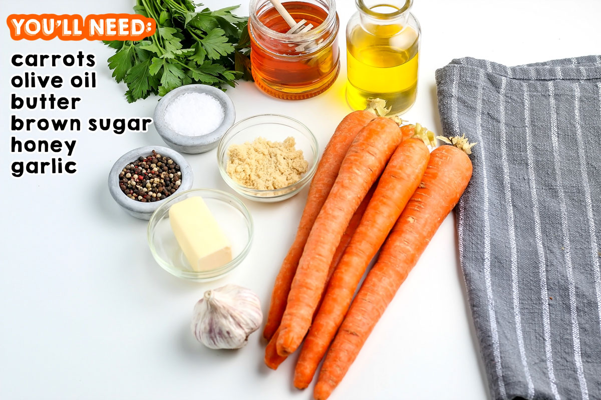 All of the ingredients needed to make glazed carrots.