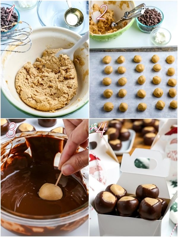 Pictures of how to make Buckeye Candy for social media