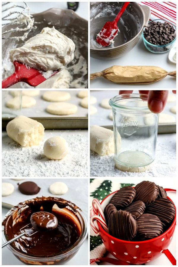 A picture collage of the differnt steps to make homemade peppermint patties for Pinterest.