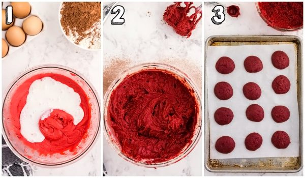 The red velvet batter before it's scooped into mounds onto the prepared cookie sheets.