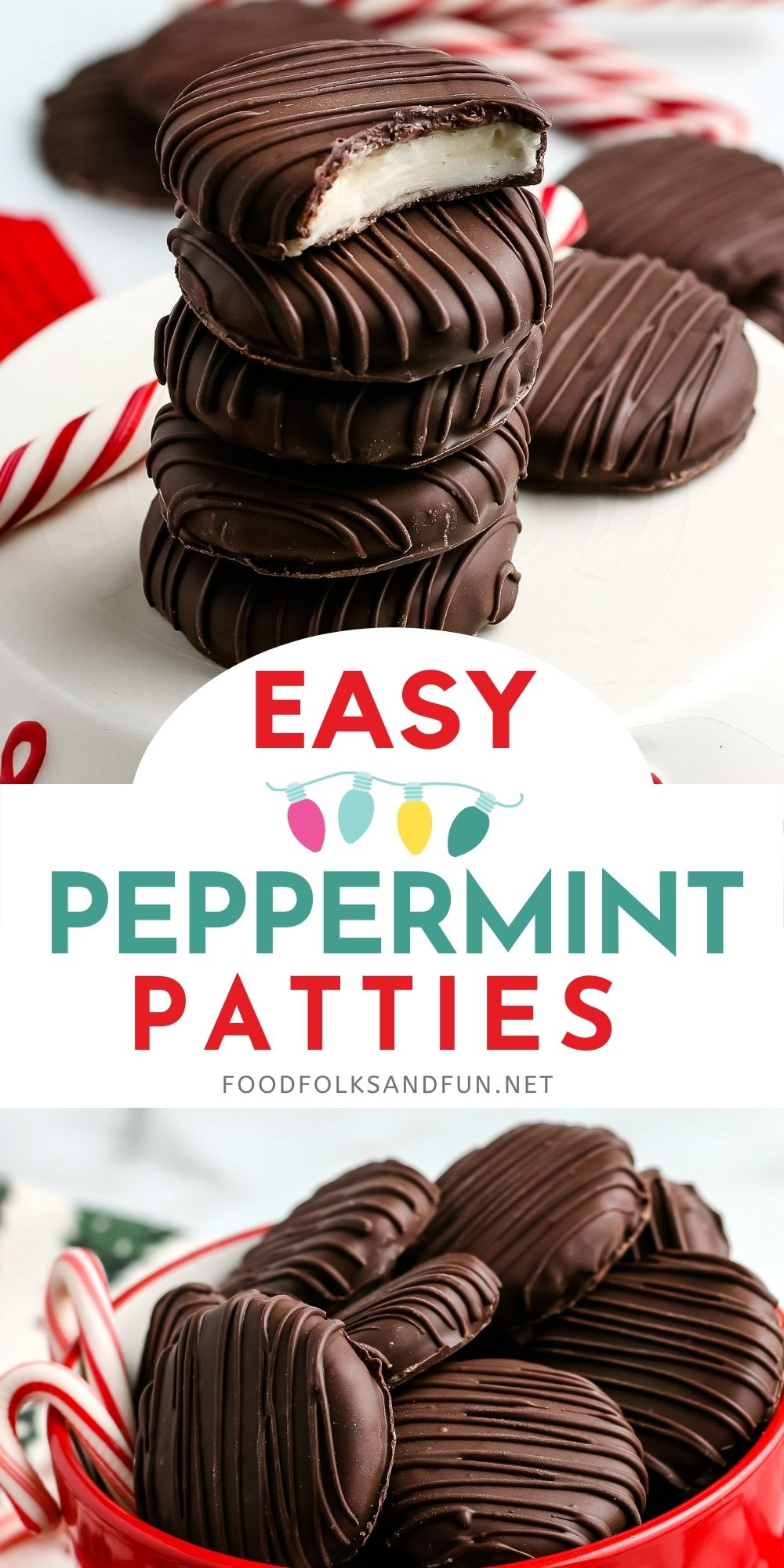 This homemade Peppermint Patty Candy is a refreshing holiday treat perfect for Christmas cookie trays and gifting. These Peppermint Patties have a creamy peppermint center that's covered in semi-sweet chocolate. via @foodfolksandfun