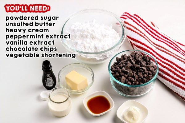 All of the ingredients needed to make Peppermint Patty Candy.
