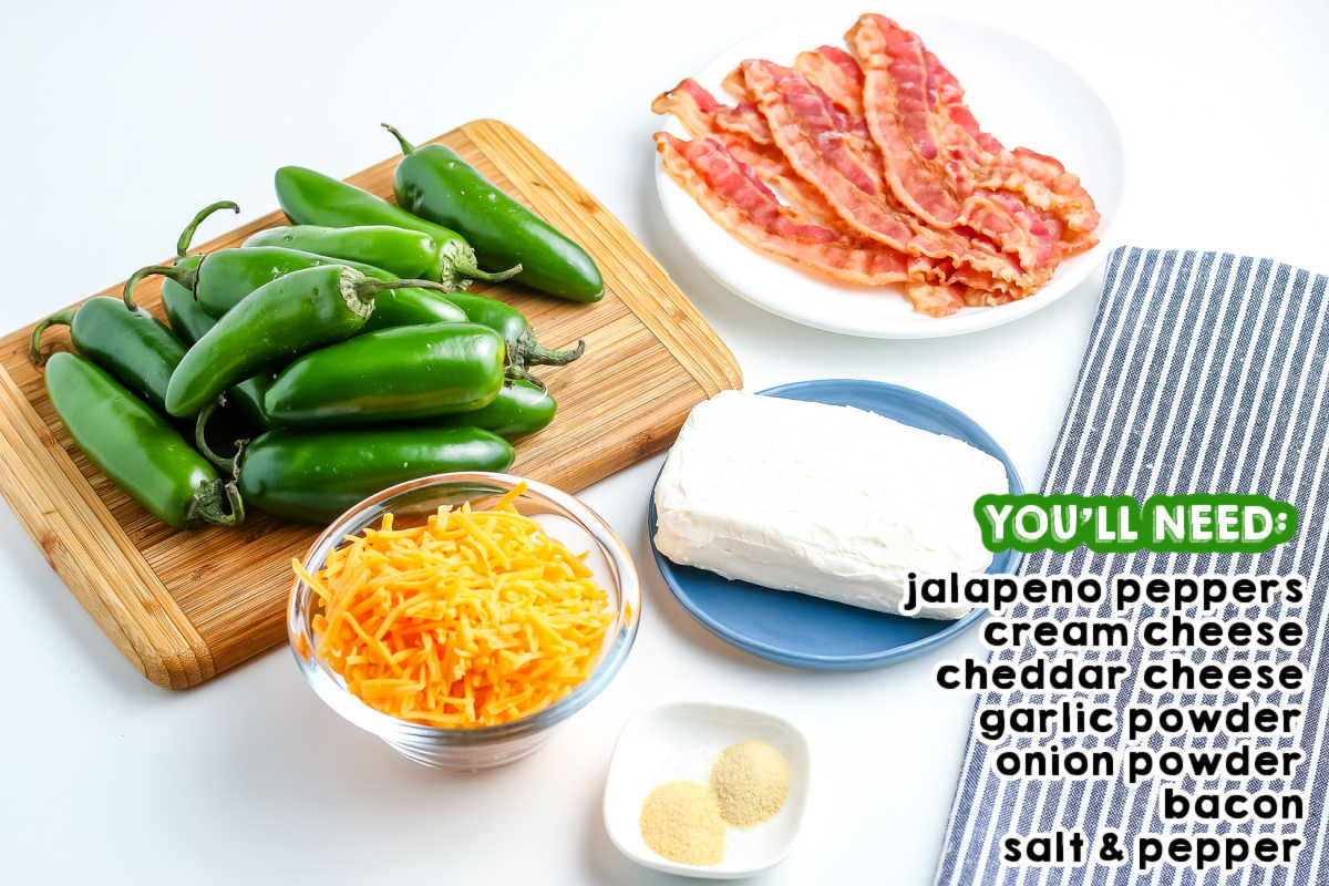 All of the Baked Jalapeño Poppers ingredients on a white counter.