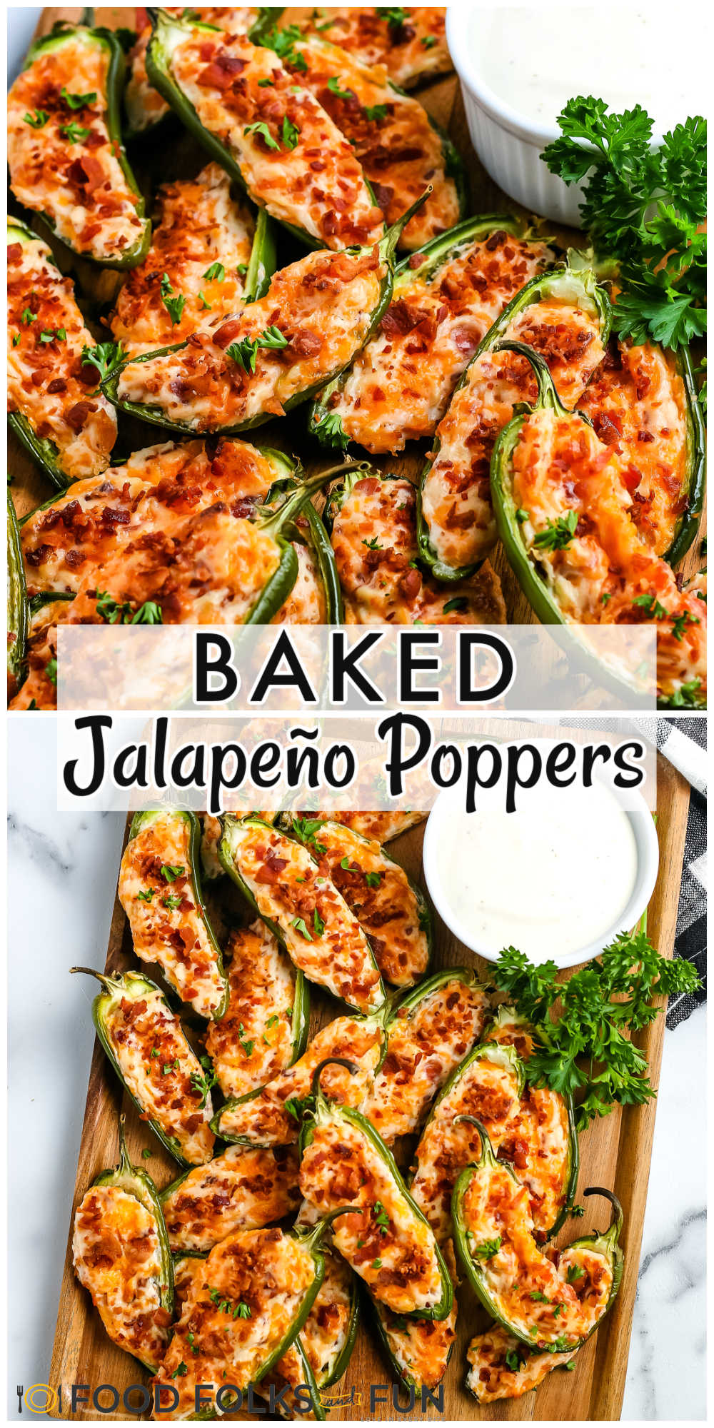 These Baked Jalapeño Poppers are easy to make, and they feed a crowd. They're stuffed with cream cheese, cheddar, and bacon! via @foodfolksandfun