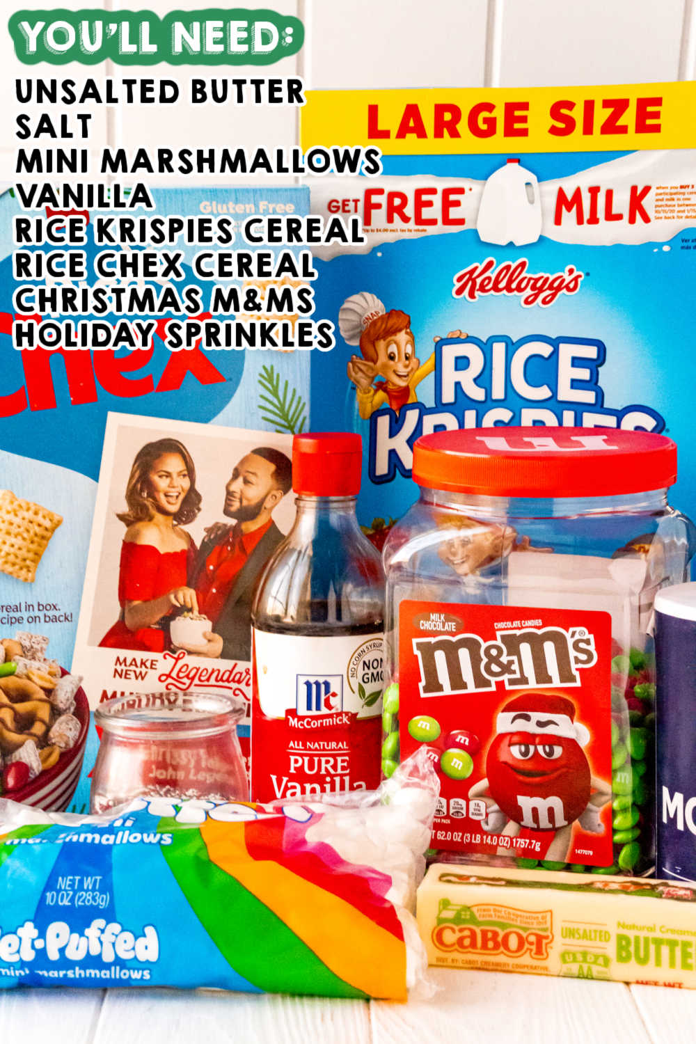 All of the ingredients needed to make these Christmas Rice Krispie Treats.