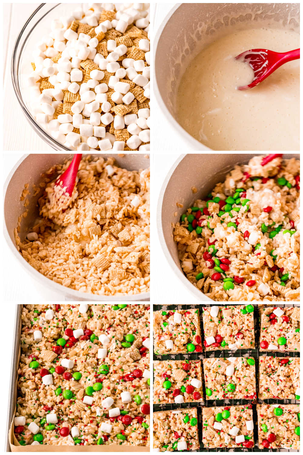 A picture collage of how to make this Christmas Rice Krispie Treats recipe.