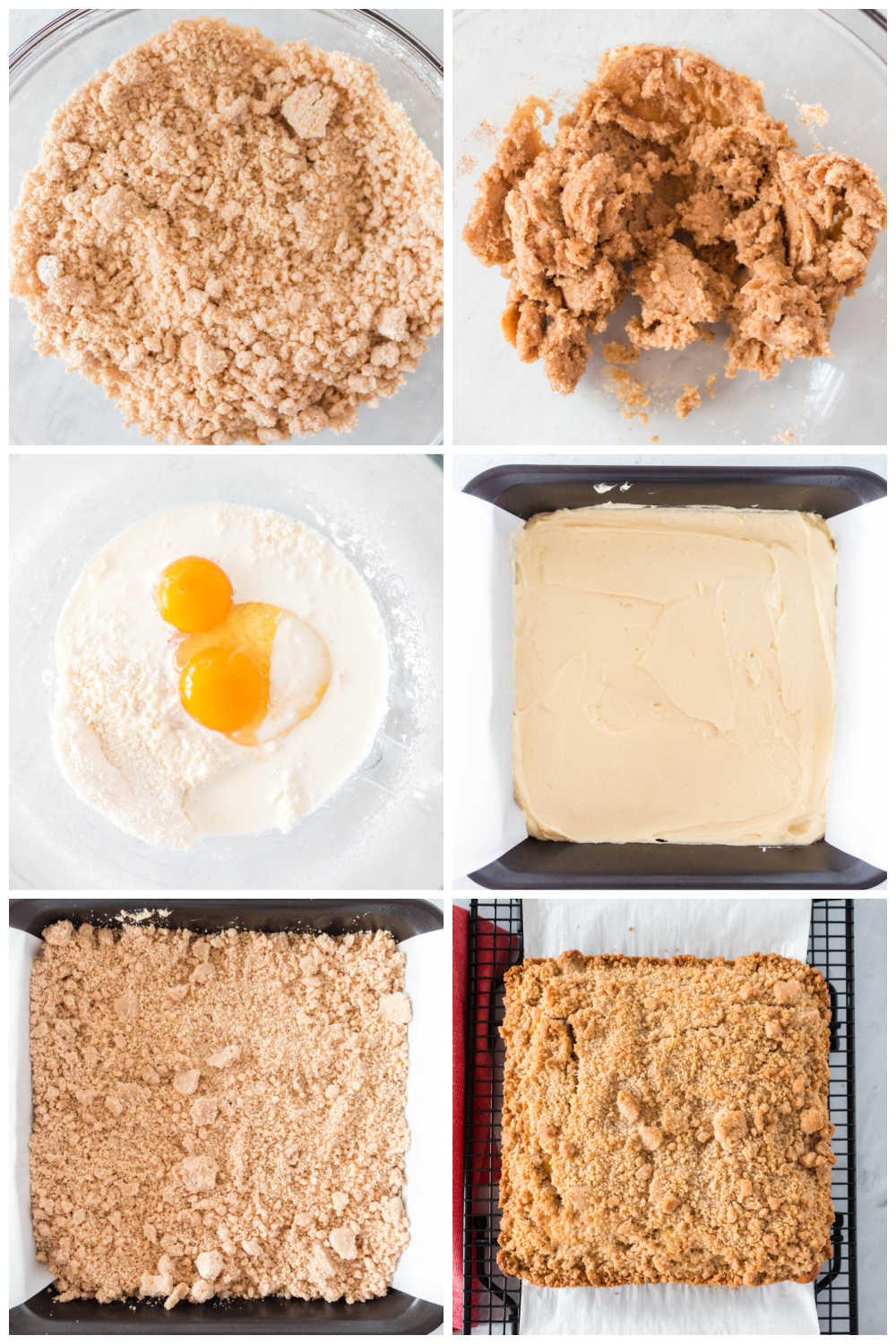 A picture collage of the recipe steps for how to make crumb cake.